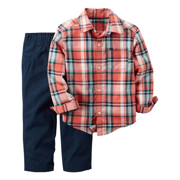 Baby Boy's Multi-Colored 2-Piece Buton-Front Shirt & Canvas Pants Set