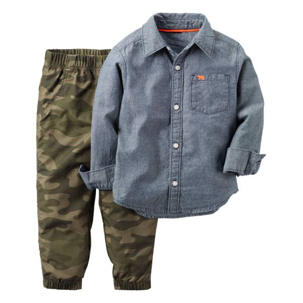 Baby Boy's Blue & Olive 2-Piece Shirt & Pants Set