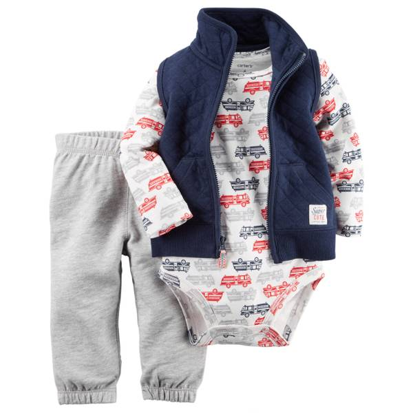 Infant Boy's Multi-Colored3-Piece Quilted Vest Set