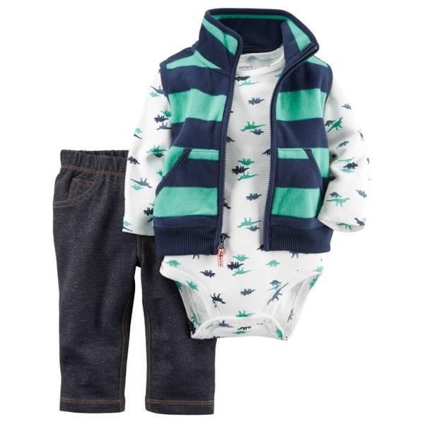 Infant Boy's Multi-Colored 3-Piece Striped Fleece Vest Set
