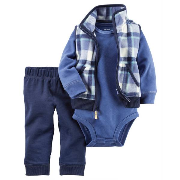 Baby Boy's Blue 3-Piece Vest, Bodysuit & Pants Set