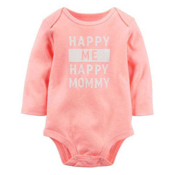 "Baby Girl's Coral ""Happy Mommy"" Neon Bodysuit"