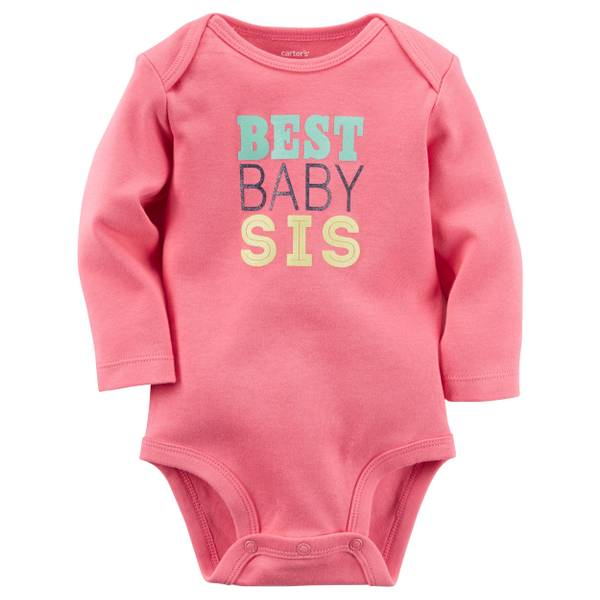 "Baby Girl's Pink ""Best Baby Sis"" Bodysuit"