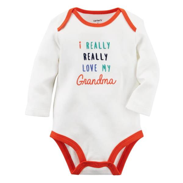 "Baby Boy's White ""I Really Really Love My Grandma"" Bodysuit"
