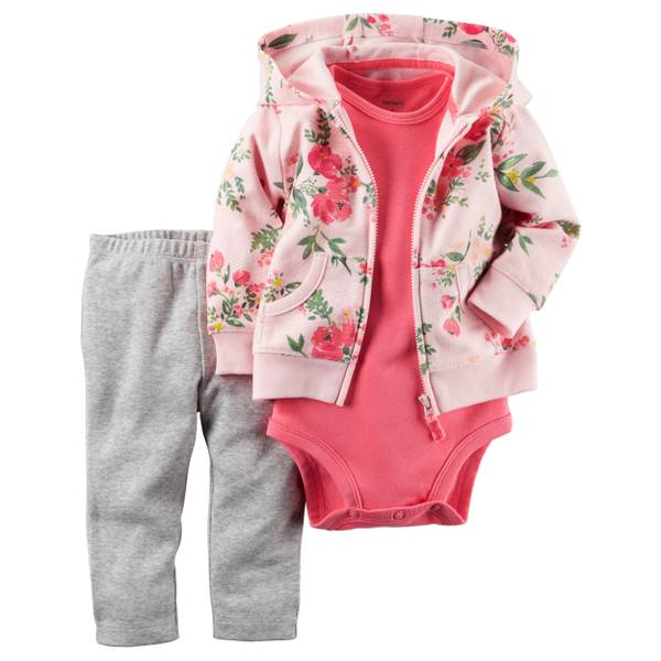 Infant Girl's Multi-Colored 3-Piece Floral Printed Cardigan Set