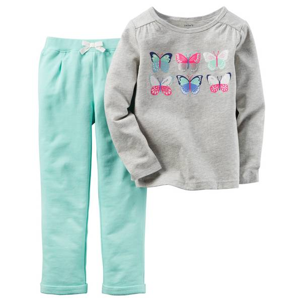 Baby Girl's Gray & Green 2-Piece Butterflies Set