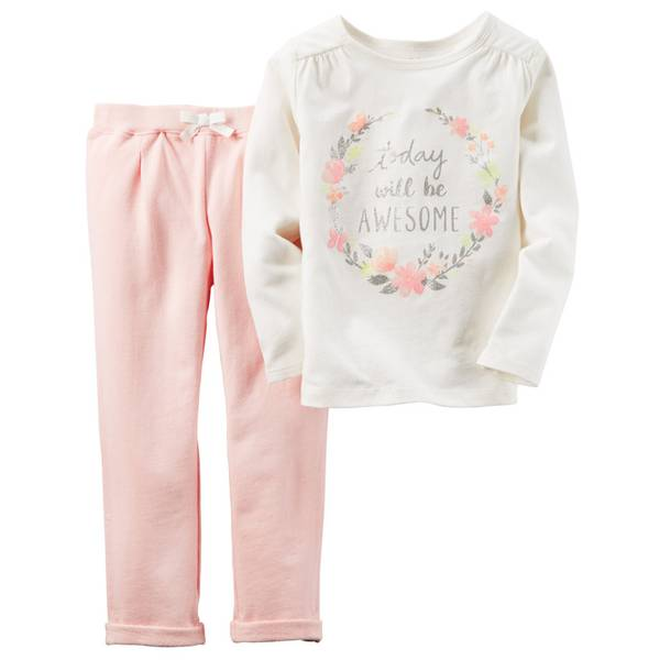 Baby Girl's White & Pink 2-Piece Toay Top & Pants Set