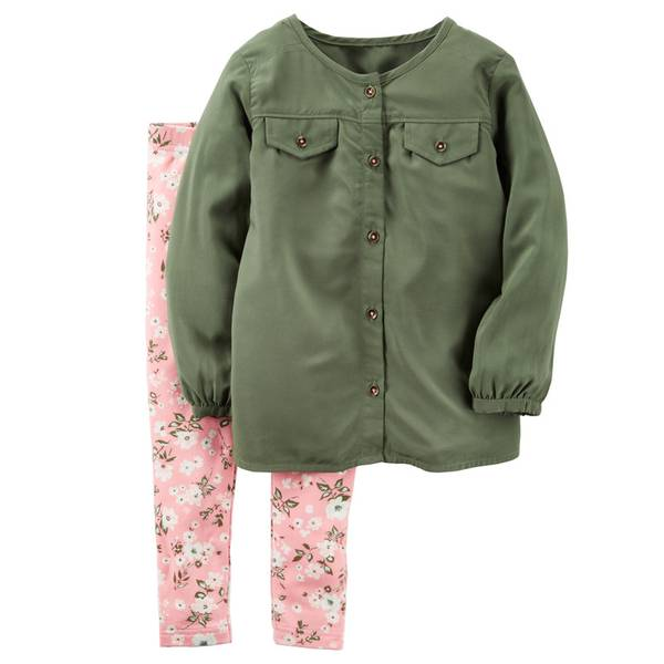Baby Girl's Olive & Coral 2-Piece Top & Pants Playwear Set