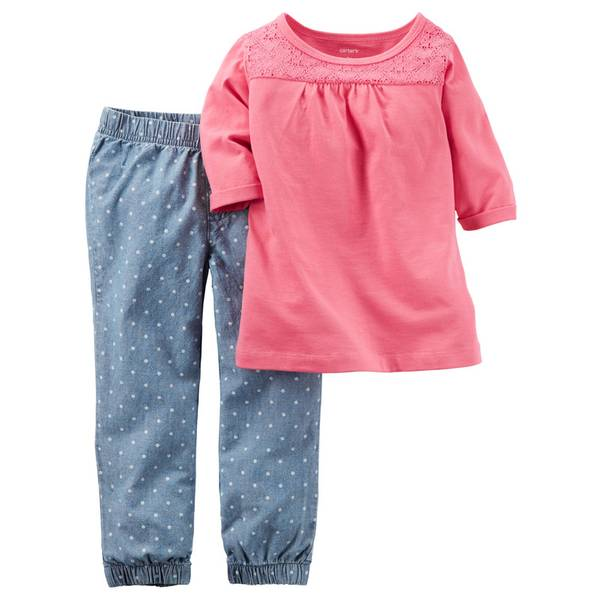 Infant Girl's Pink & Blue 2-Piece Lace Top & Joggers Set