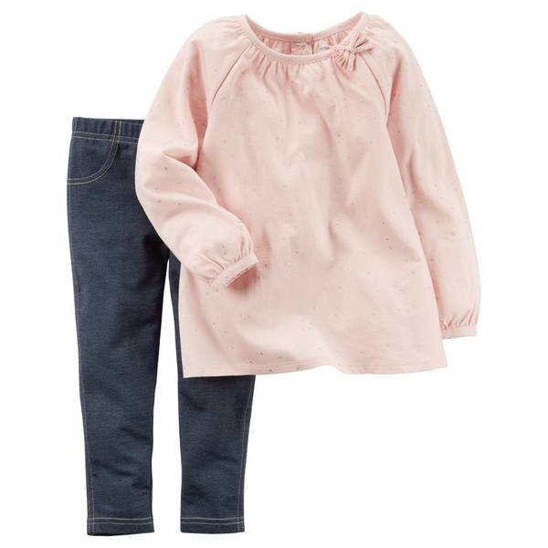 Infant Girl's Pink & Blue 2-Piece Dotted Top & Jeggings Set