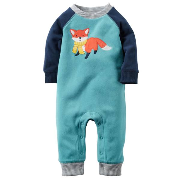 Baby Boy's Teal Fleece Fox Jumpsuit