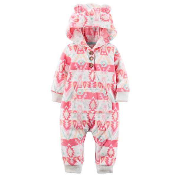 Infant Girl's Multi-Colored Hooded Geo Print Jumpsuit