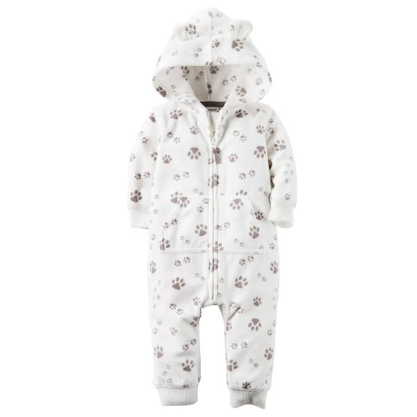 Baby Boy's White Hooed Paw Print Jumpsuit