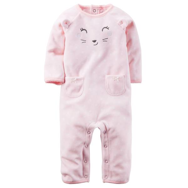 Baby Girl's Pink Fleece Jumpsuit