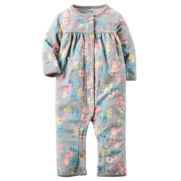Infant Girl's Gray Fleece Floral Jumpsuit