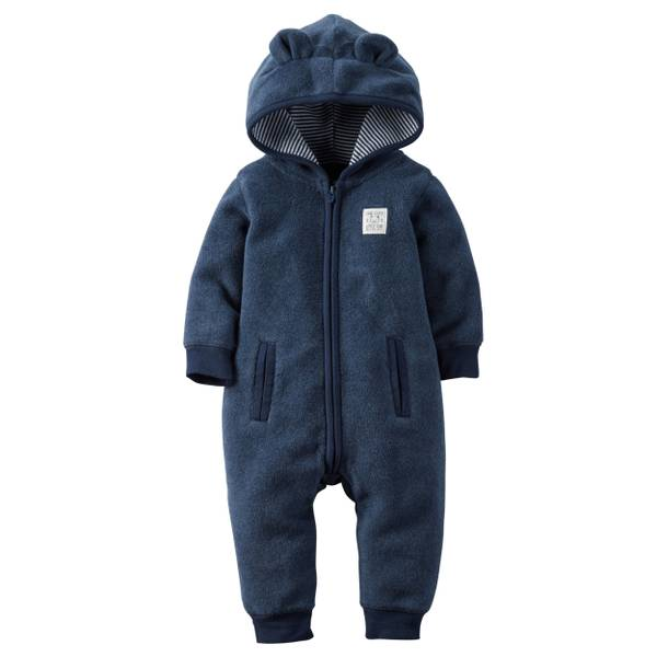 Baby Boy's Navy Hoded Fleece Pajamas