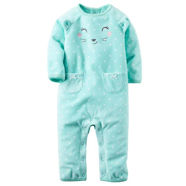 Baby Girl's Mint Fleece Jumpsui