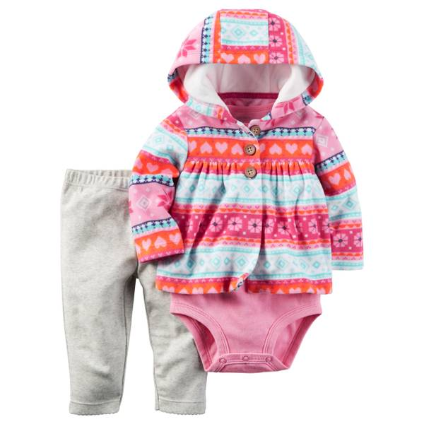 Baby Girl's Pink & White 3-Piece Little Jacket Set