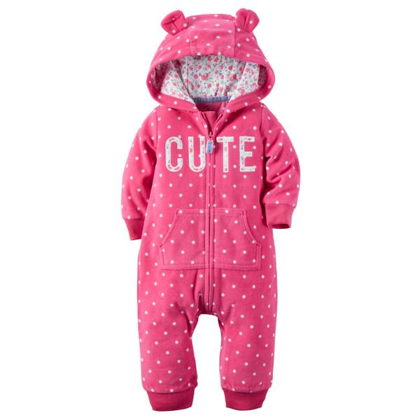 Infant Girl's Magenta Animal Ears Hooded Feece Jumpsuit
