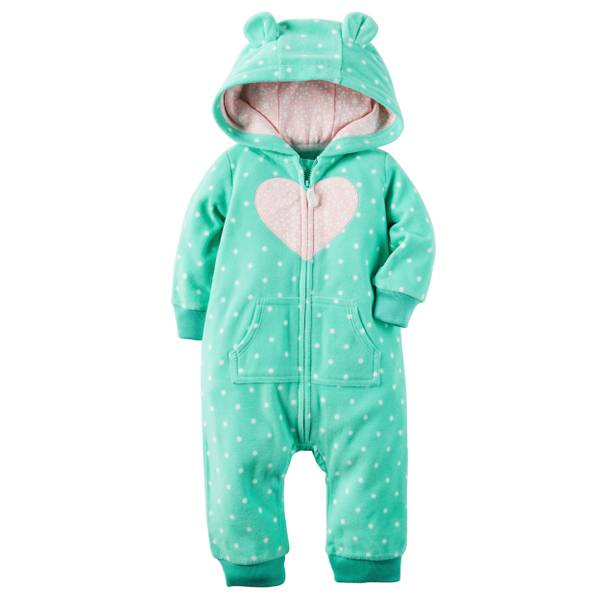Baby Girl's Mint 3D Ears Hoodd Fleece Jumpsuit