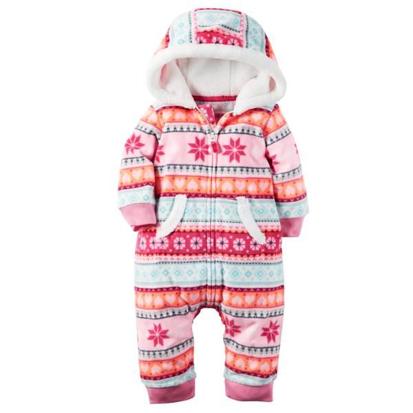 Infant Girl's Multi-Colored Fair Isle Fleece Jumpsuit