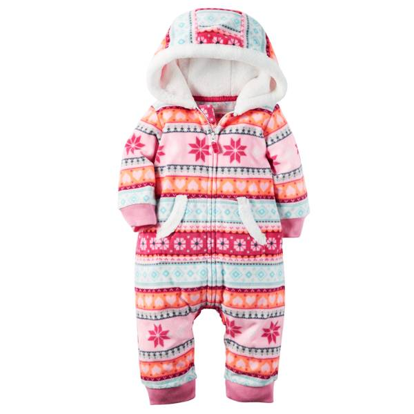 Infant Girl's Multi-Colored Fair Isle Fleece Jumpsuit