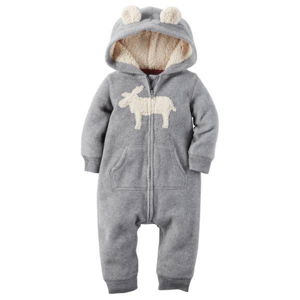 Infant Boy's Gray Character Applique Hooded Fleece Jumpsuit