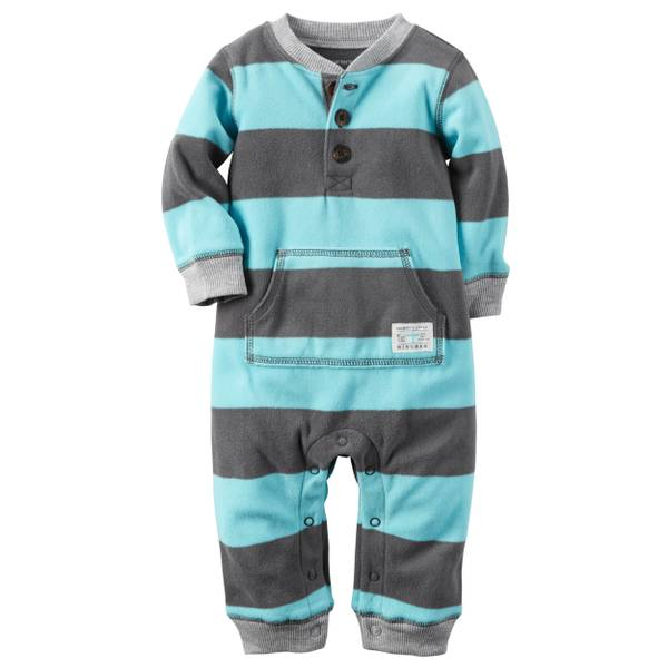 Infant Boy's Blue Allover Stripes Fleece Jumpsuit