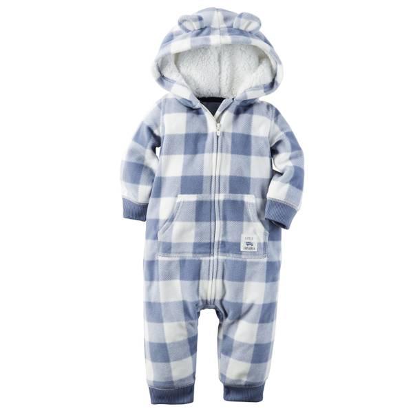 Infant Boy's Blue & White Fleece Jumpsuit