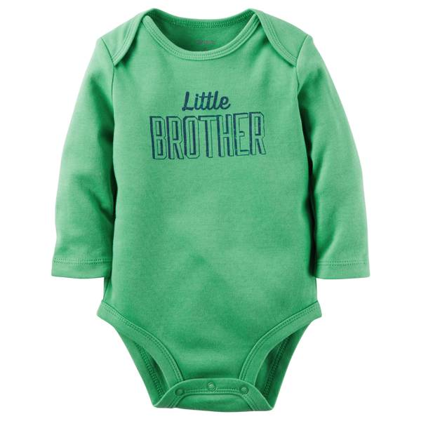 "Infant Boy's Green ""Little Brother"" Collectible Bodysuit"