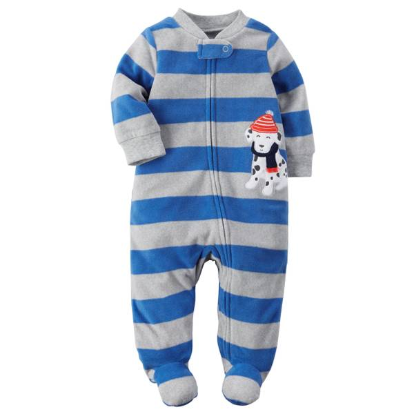 Baby Boys'  Allover Stripes Zip-Up Sleep & Play Pajamas