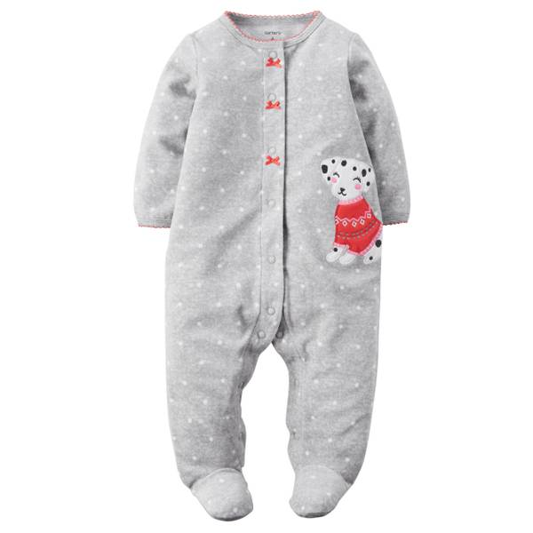 Baby Girls' Gray Allover Polka Dots Snap-Up Sleep & Play Pajamas
