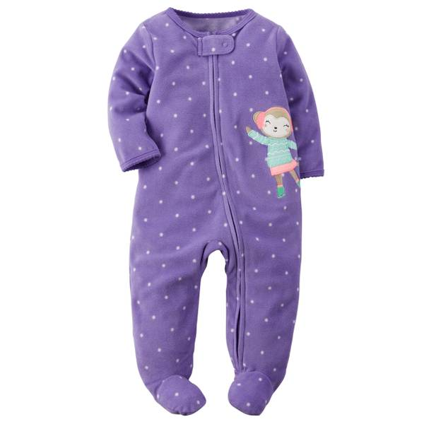 Baby Girls'  Allover Polka Dots Zip-Up Sleep & Play Pajamas