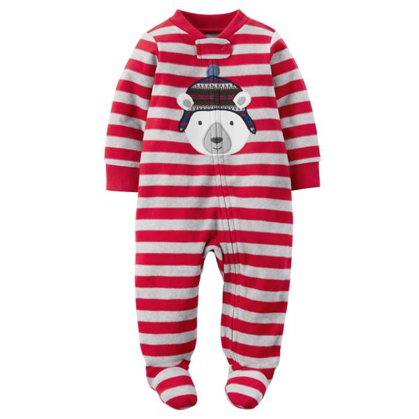 Baby Boys'  Allover Stripes Fleece Zip-Up Sleep & Play Pajamas