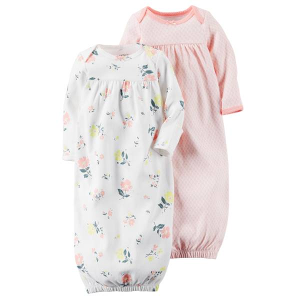 Girls' Pink & White Babysoft Sleeper Gowns - 2 Pack