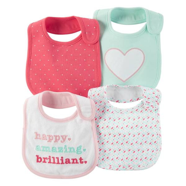 Girls' Multi-Colored Embroidery & Allover Print Teething Bibs