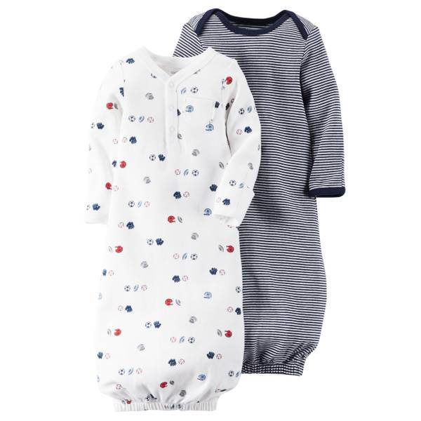 & White One Size Babysoft Sleeper Gowns - 2 Pack