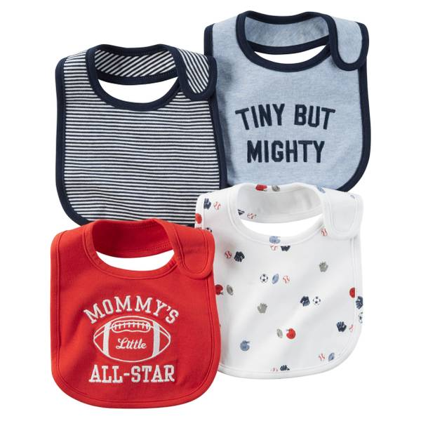 Boys' Multi-Colored Embroidery & Allover Prints Teething Bibs - 4 Pack