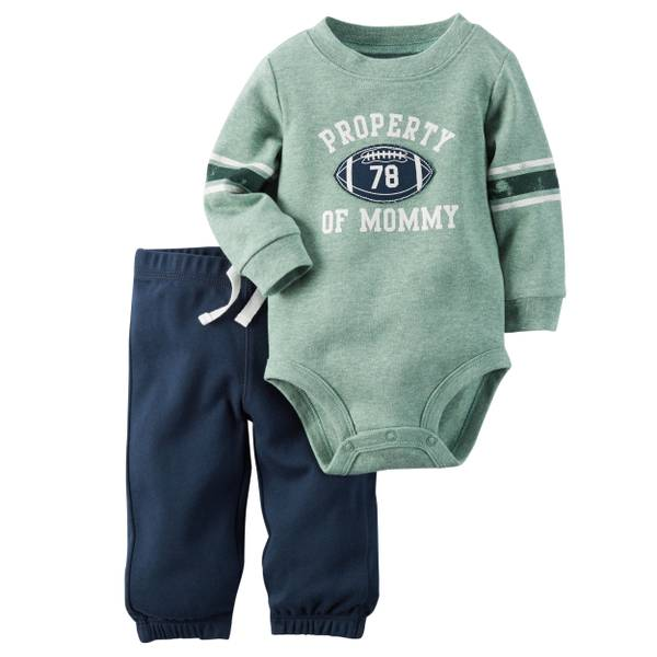 Infant Boy's Green & Navy 2-pice Bodysuit & Pants Set