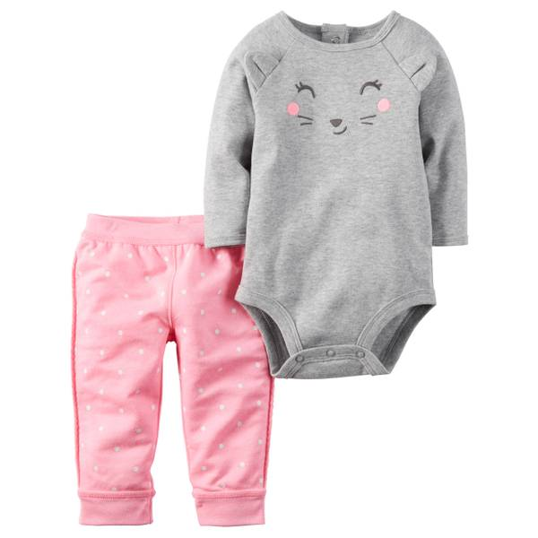 Baby Girl's Gray & Pink 2-Piece Bodysuit & Pants Set