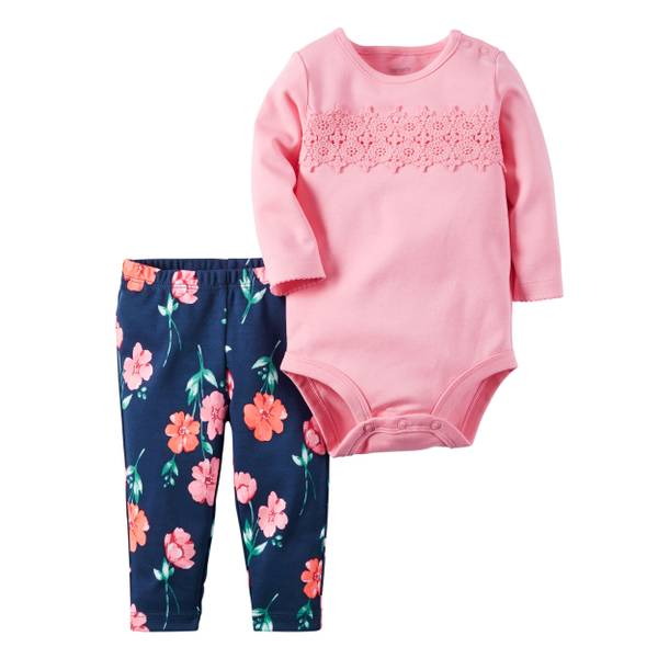 Infant Girl's Pink & Blue 2-Piece Bodysuit & Pants Set