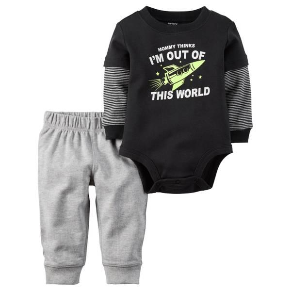 Baby Boy's Black & Gray 2-Piece Bodysuit & Pants Set