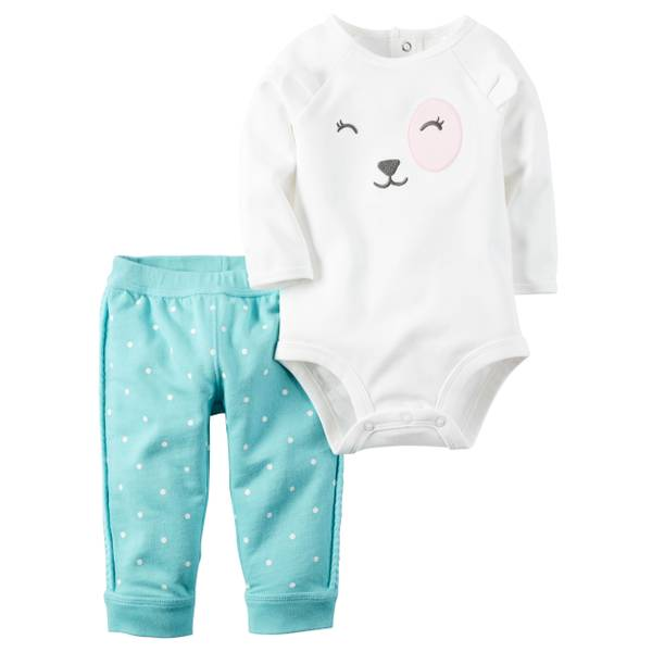 Infant Girl's White & Mint 2-Piece Bodysuit & Pants Set