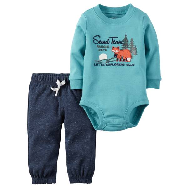 Baby Boy's Turqouise & Navy 2-Piece Bodysuit & Pants Set