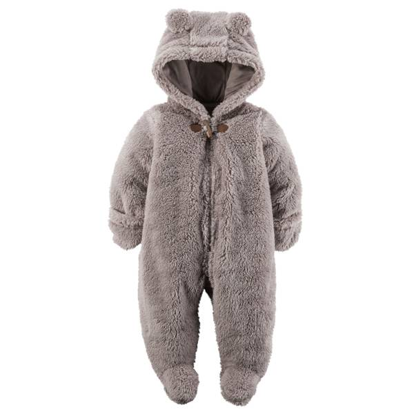 Baby Boys' Gray Hooded Sherpa Bunting
