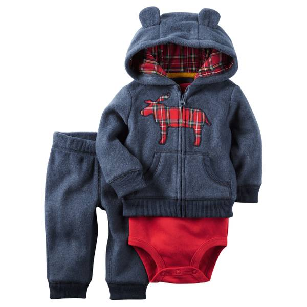 Baby Boy's Navy & Red 3-Piece Litle Jacket Set