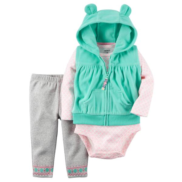 Infant Girl's Multi-Colored 3-Piece Fleece Vest Set