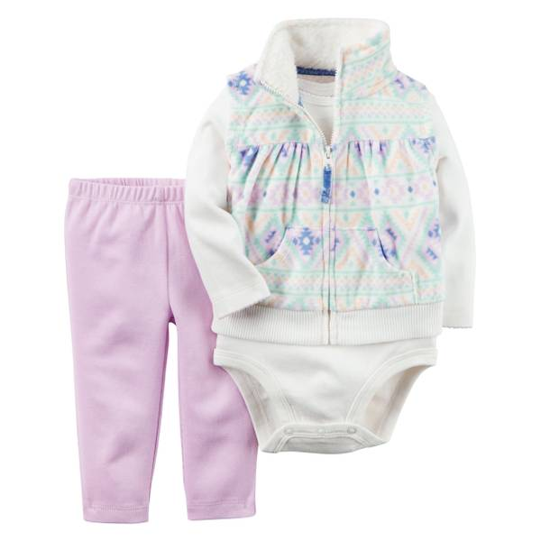 Baby Girl's Multi-Colored 3-Piece Fleece Vest Set