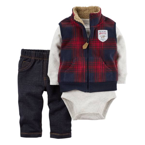 Baby Boy's Multi-Colored Little Vest Set