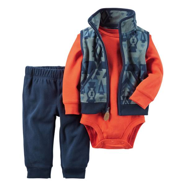 Infant Boy's Navy & Orange 3-Piece Little Vest Set